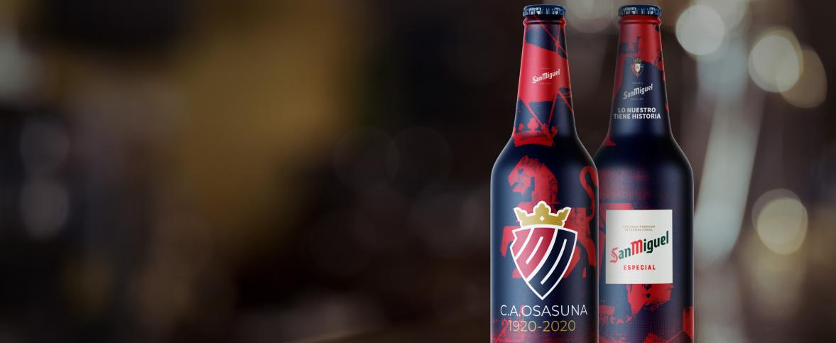 San Miguel celebra el centenario del C.A. Osasuna con una edición especial. Encuéntrala en bares y restaurantes  de la ciudad.